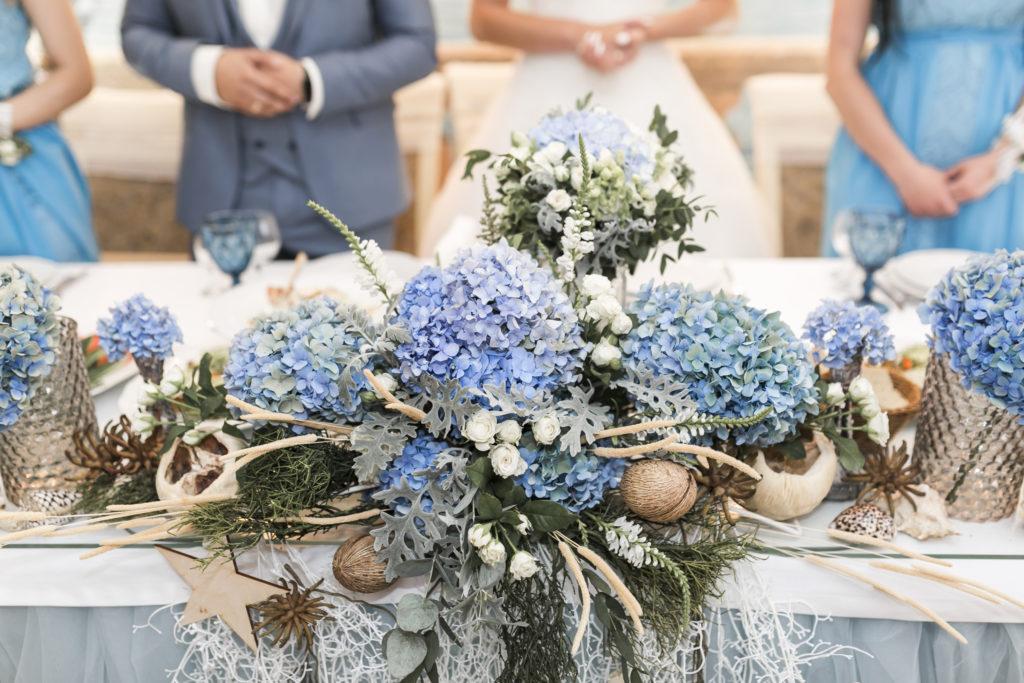 Mariage tout en bleu