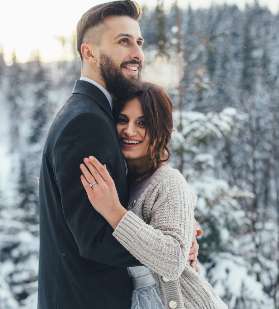 Mariés dans la neige